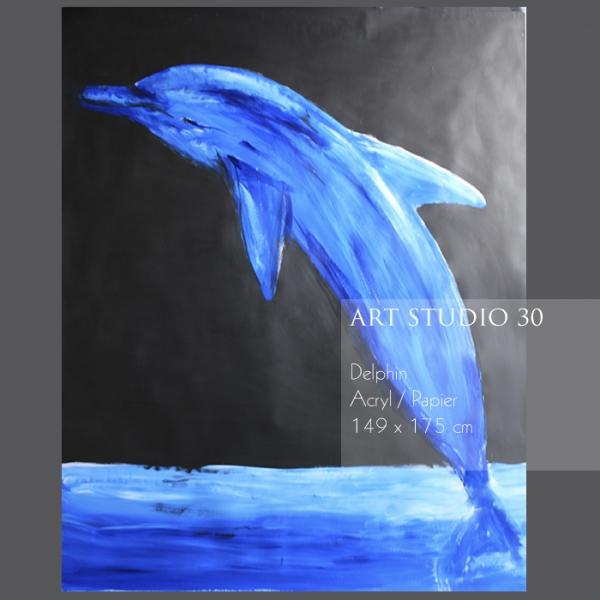 """Das Bild von freischaffenden Künstlerin Angelika Neumann """"Delphin"""" Acryl/Papier 149x175 cm"""