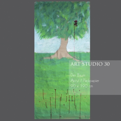 """Das Bild von Angelika Neumann """"Der Baum"""" - Acryl - Packpapier - 90 x 190 cm"""