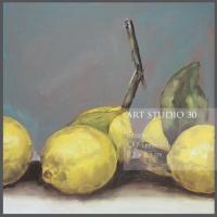 """Das Bild von Angelika Neumann """"Zitronen"""" Öl - Leinwand 23 x 23 cm"""